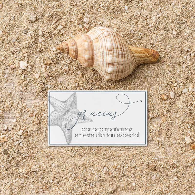 Tarjeta agradecimiento invitación boda playa