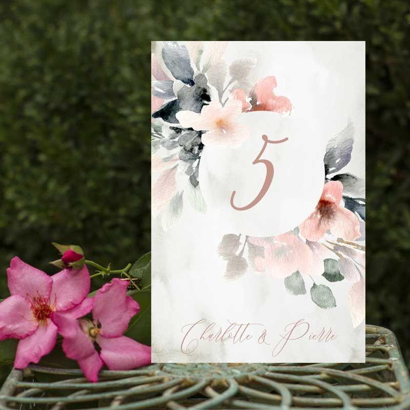 Numeros de mesa boda flores acuarela