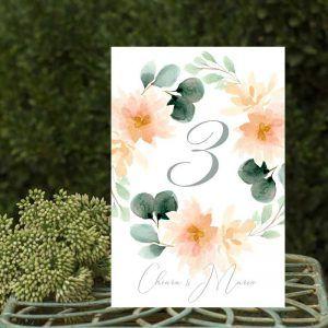 Números de mesa para bodas rústicas en verano