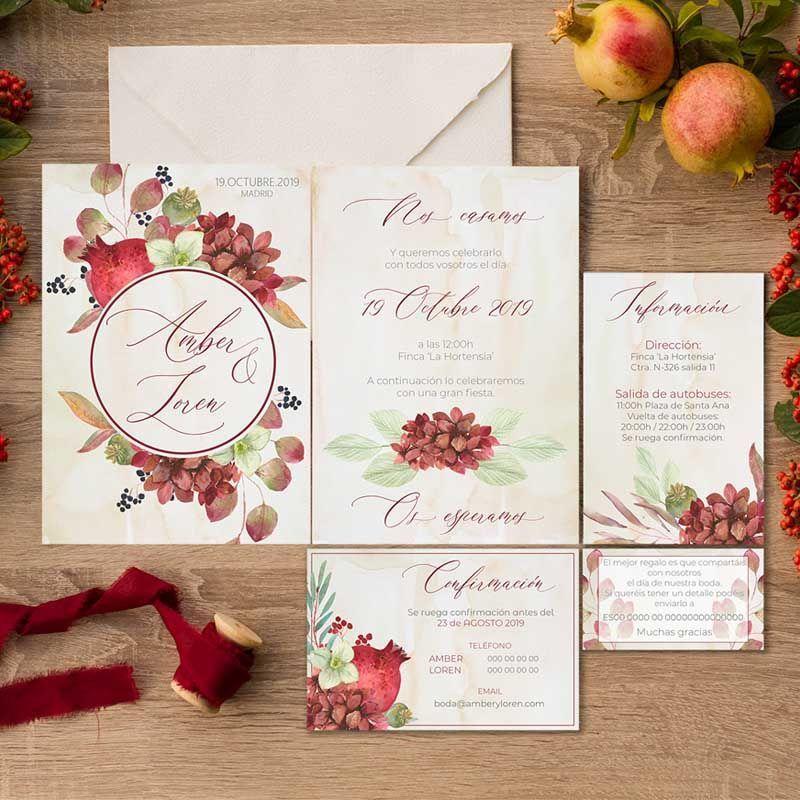 Papelería de boda rústica otoño
