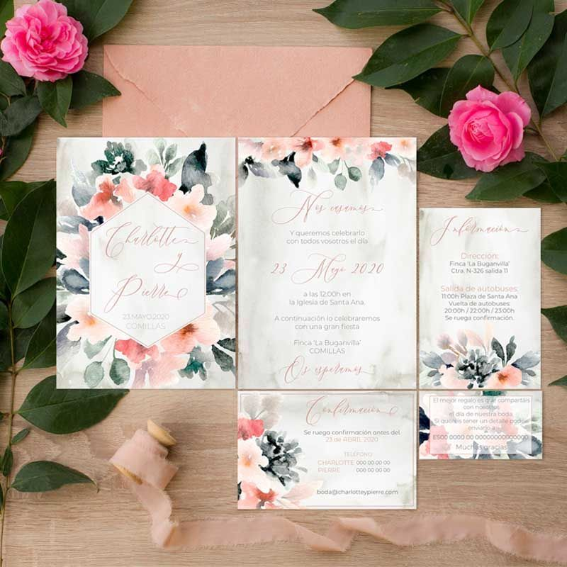 Colección invitaciones de boda rústica flores acuarela