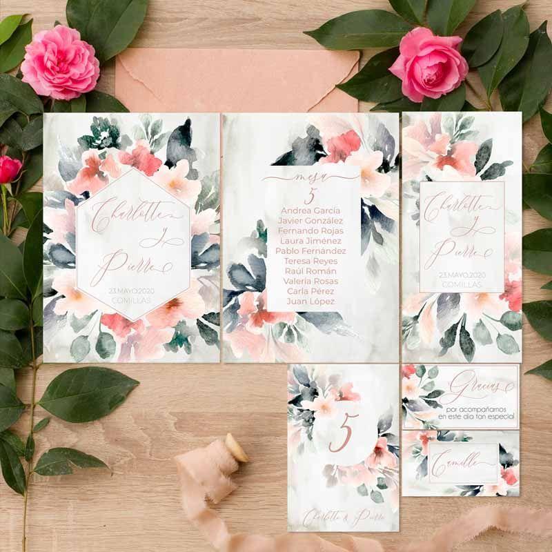 Coleccion papeleria de boda flores acuarela