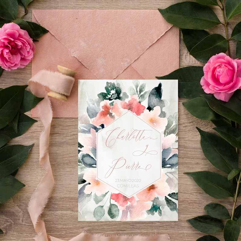 Invitaciones de boda rústica flores acuarela