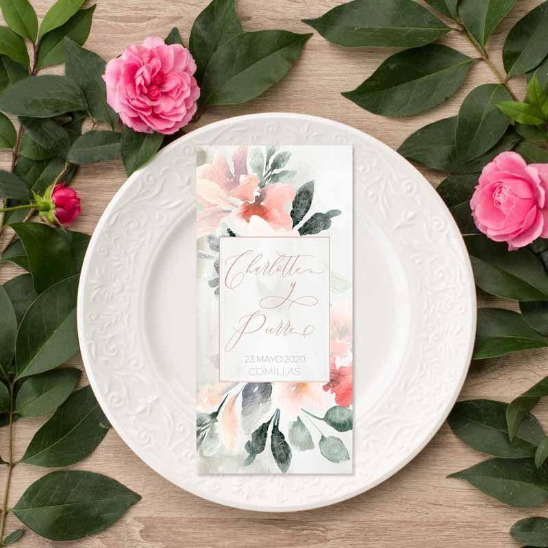 Menu boda flores acuarela