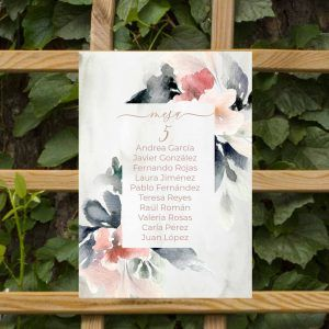Seating plan flores boda rustica