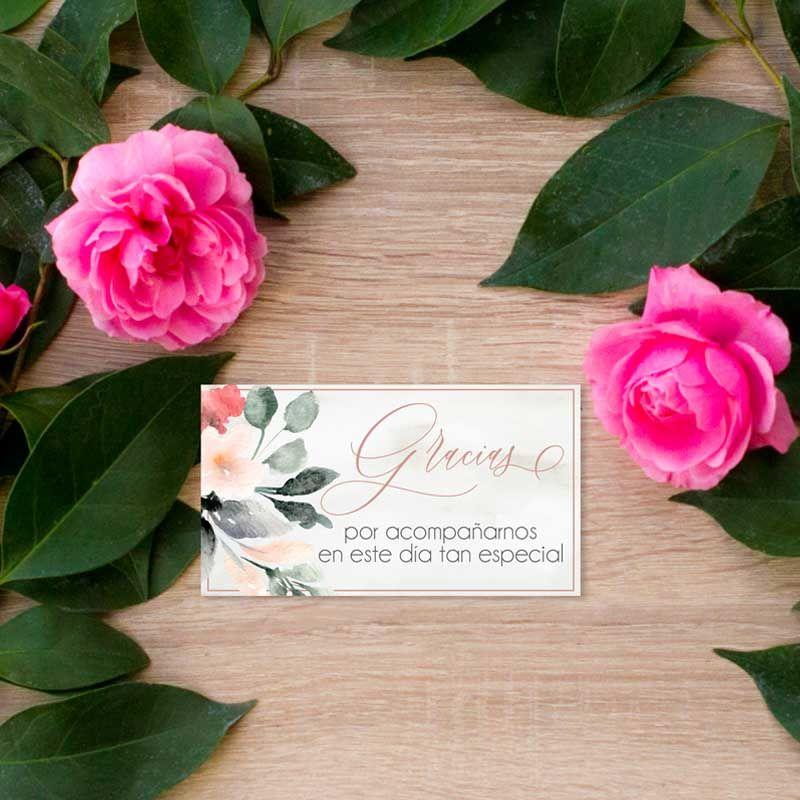 Tarjeta agradecimiento boda flores acuarela