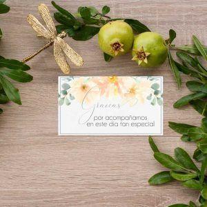 Tarjeta agradecmiento boda rústica