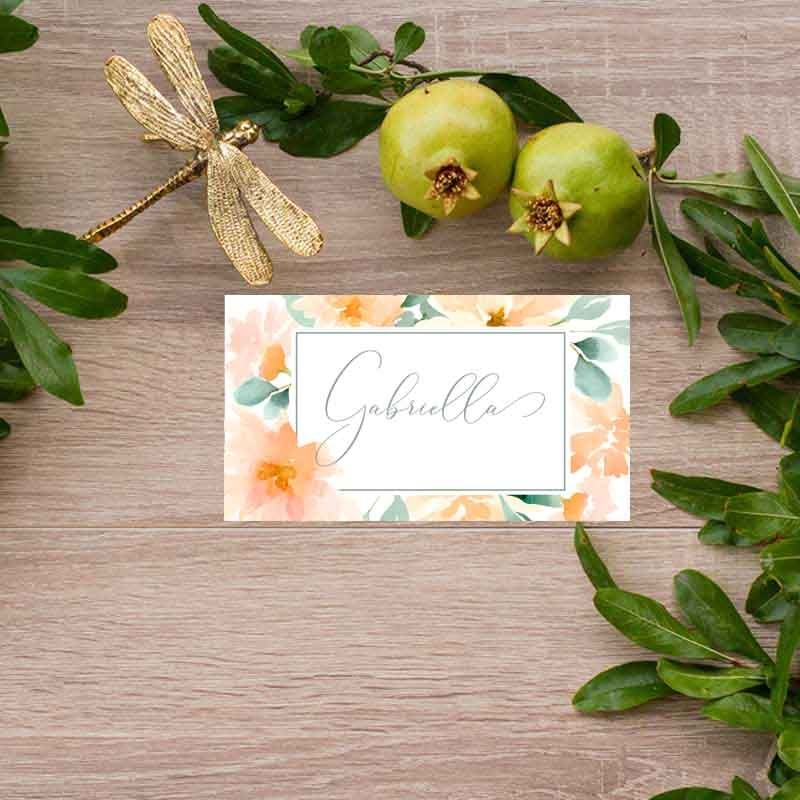 Tarjeta puesto de mesa boda rústica verano