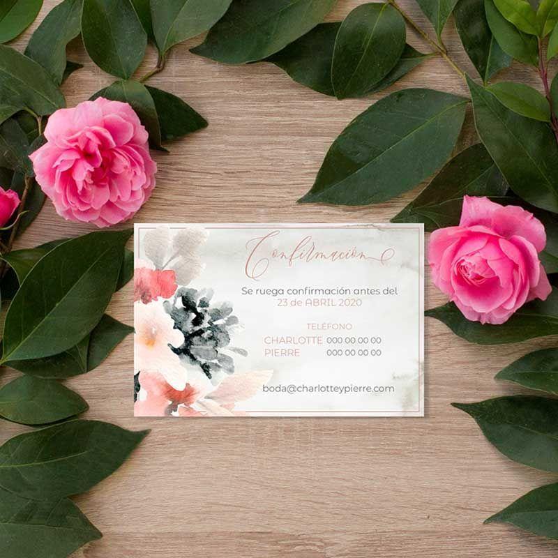 Tarjeta confirmación boda flores acuarela
