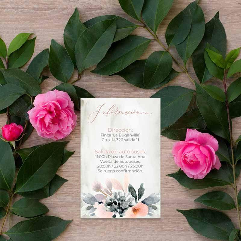 Tarjeta información boda flores acuarela
