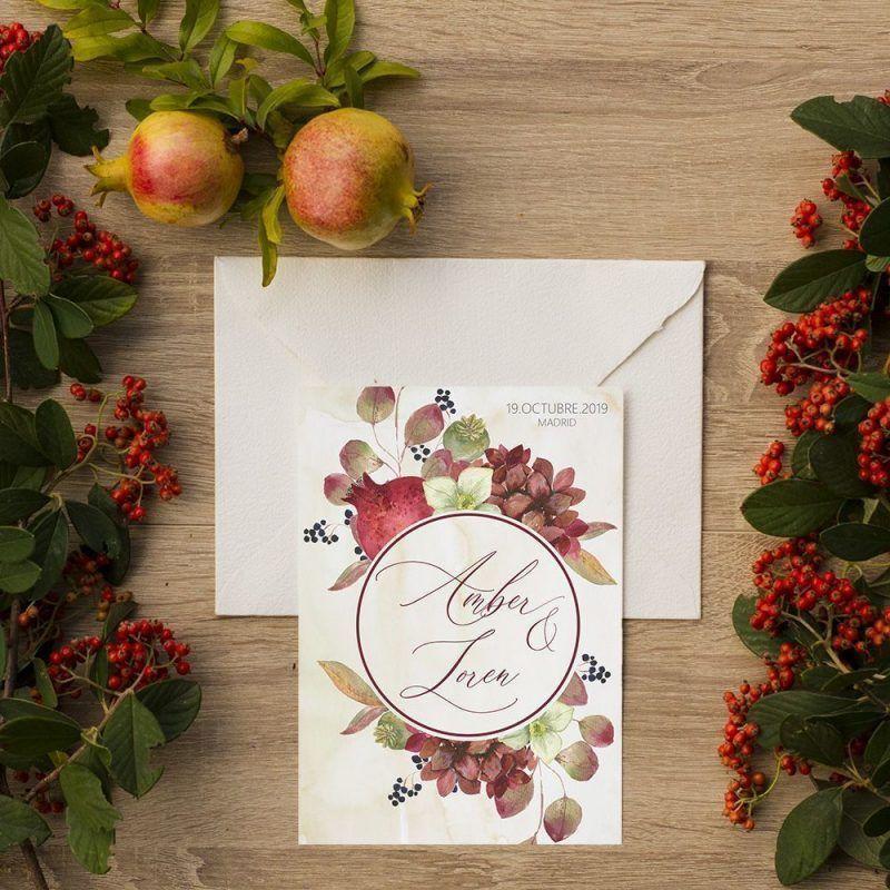 Invitación de boda otoño acuarela