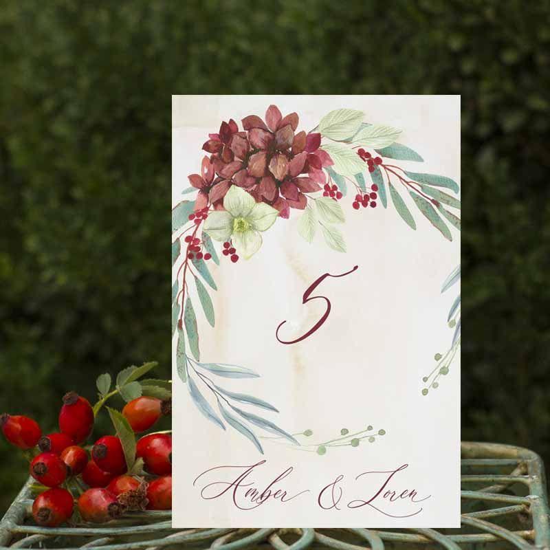Números de mesa boda rústica otoño Amber