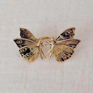 Anillo dos mariposas oro