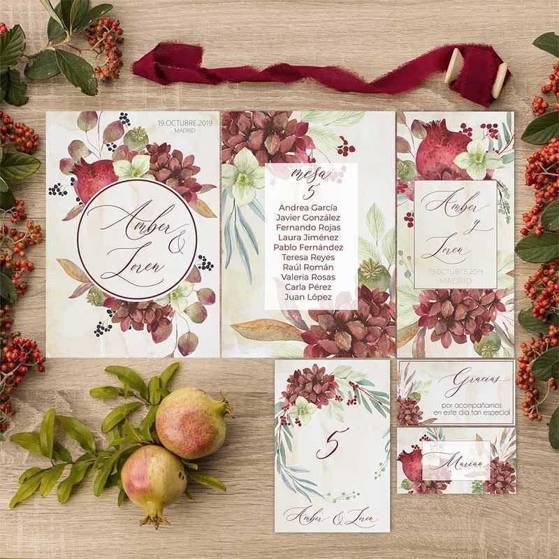 Colección papelería mesa boda otoño