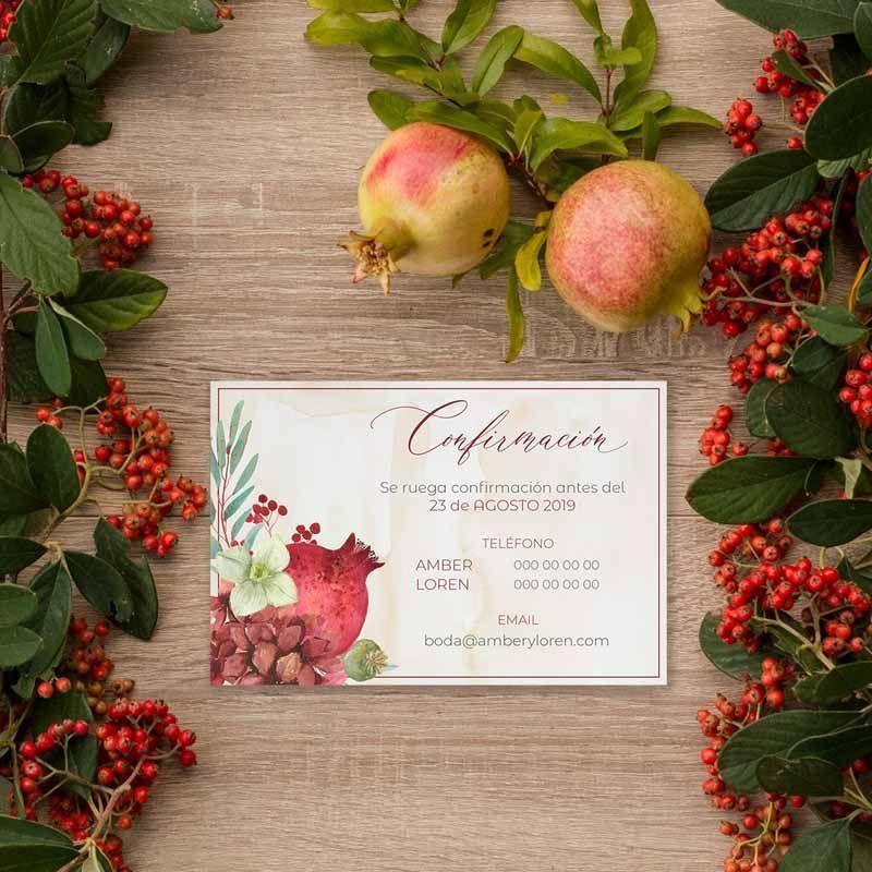 Tarjeta confirmación boda rústica otoño