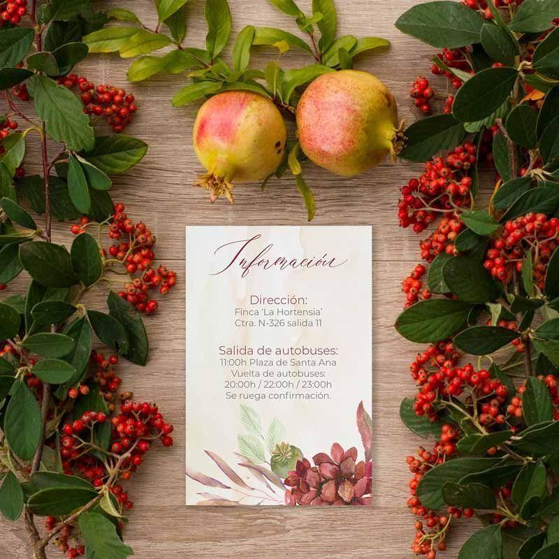 Tarjeta información boda rústica otoño