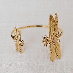 brazalete dos libelulas oro