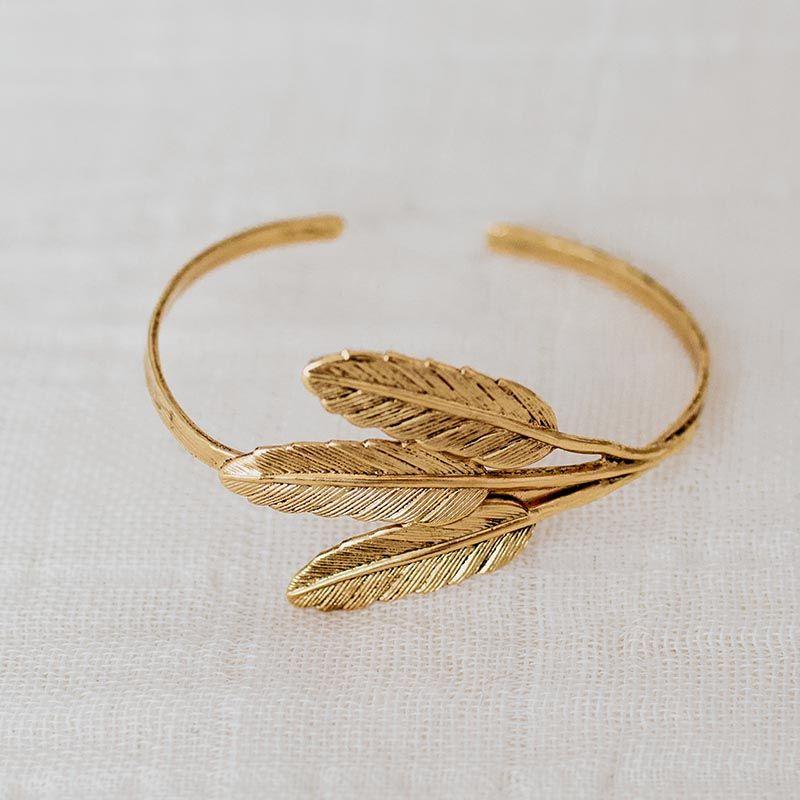 brazalete tres hojas oro
