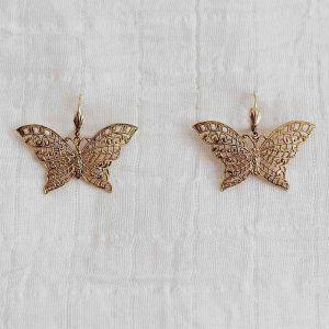 pendientes mariposas oro