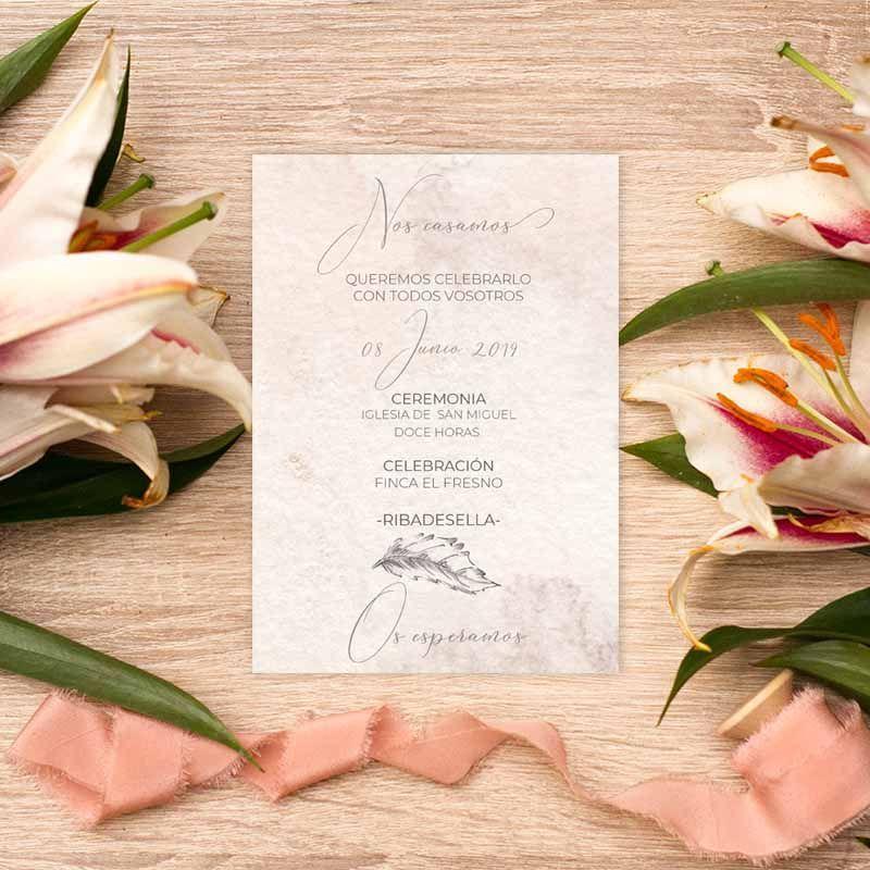 Invitación de boda 'Grace' detrás