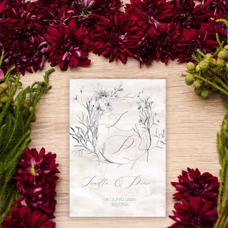 Invitación de boda Lionetta de estilo vintage