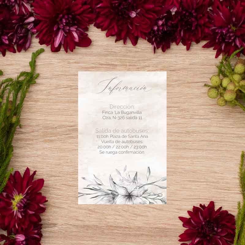 Tarjeta información boda 'Lionetta'