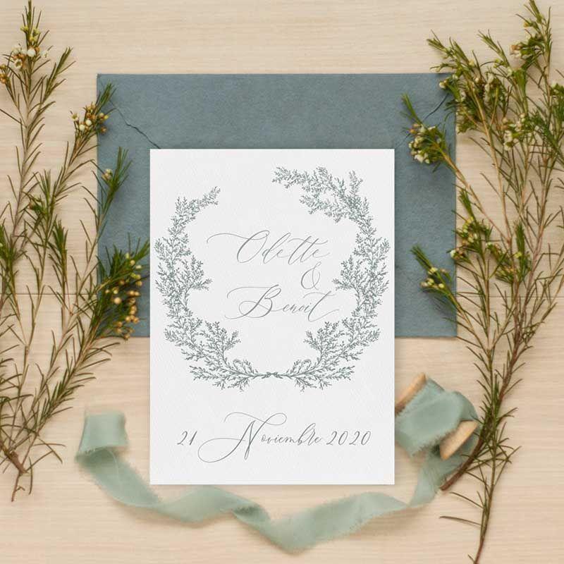 Invitación de boda clásica 'Odette'