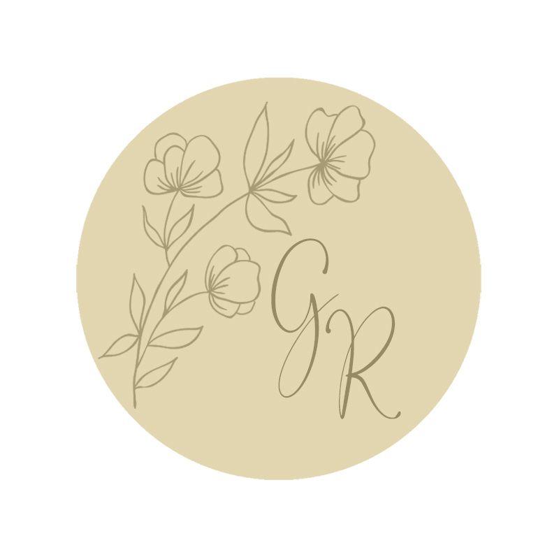 Sello lacre iniciales rama con flores