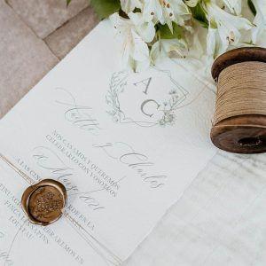 Cinta papel kraft invitaciones boda