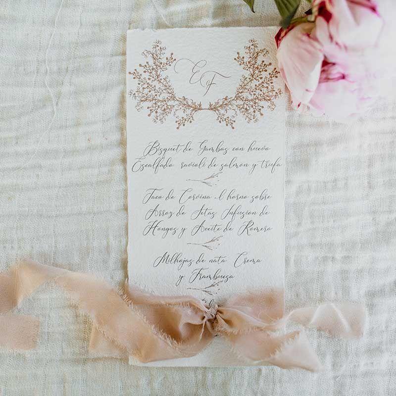 menu boda papel artesano