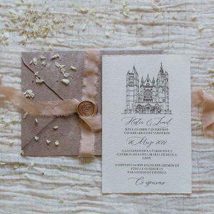 Invitación de boda dibujo iglesia