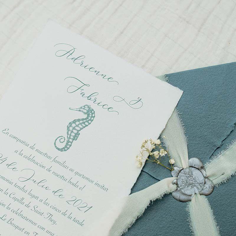 invitacion de boda artesanal nautica