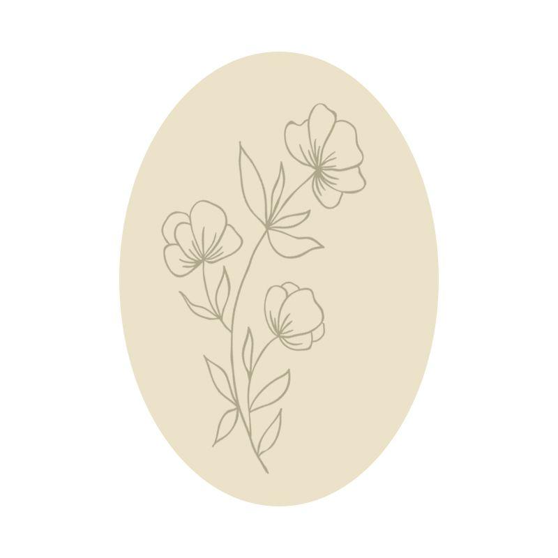 sello flores ovalado